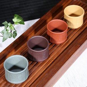 chén tử sa mai lan cúc trúc bốn màu thủ công đẹp uống trà ngon