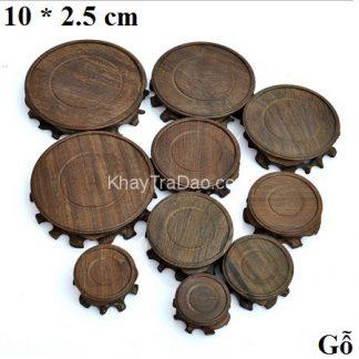 đế ấm trà gỗ dáng gốc cây tròn để kê ấm trà bền đẹp dc32