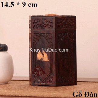 hũ đựng trà gỗ đàn chạm khắc nổi phỏng cổ dáng lục phương đẹp ht11