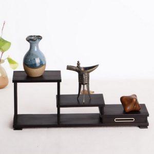 kệ gỗ mini để bàn bằng gỗ mun thủ công kỹ bền đẹp kh10 33x8cm bày ấm chén trà đẹp
