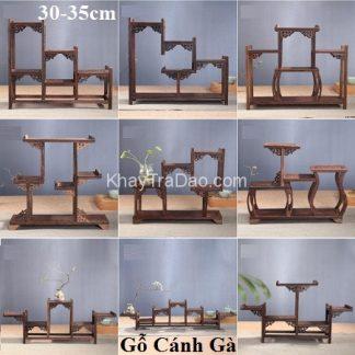 kệ gỗ mini để bàn trưng bày ấm trà bằng gỗ cánh gà bền đẹp kg01