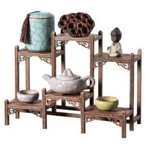 kệ gỗ mini để bàn trưng bày ấm trà bằng gỗ cánh gà bền đẹp kg01 30-35m