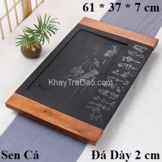 khay trà đá khung gỗ hoạ tiết liên ngư để ấm chén trà bền đẹp ktd04
