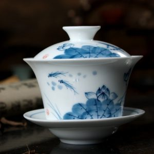 Tiềm trà sứ cảnh đức hoa sen vẽ tay loại ấm không quai có nắp đậy 150ml pha trà độc ẩm tiện lợi