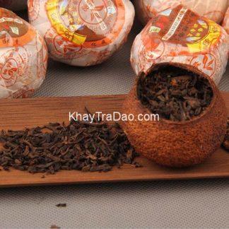 trà phổ nhĩ quýt vân nam loại ngon quả to pha được nhiều ấm