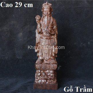 tượng gỗ thần tài lớn bằng gỗ trầm cao 29cm thủ công đẹp