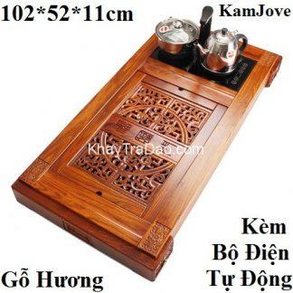 bàn pha trà điện đa năng bằng gỗ hương chạm khắc đẹp có ngăn để đồ kj525