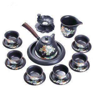 bộ tách trà cao cấp có cả đĩa lót dáng ấm quai ngang gốm men cổ pha trà ngon