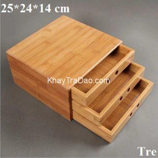 hộp đựng trà phổ nhĩ bằng tre loại 3 ngăn rất tiện lợi bền đẹp