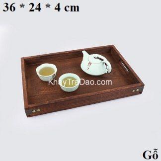 khay trà bằng gỗ đựng ấm chén trà có quai cầm tiện lợi bền đẹp ktg25