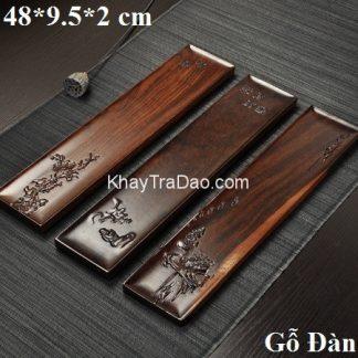khay trà bằng gỗ đựng ấm chén trà loại dài độc ẩm gỗ đàn đẹp ktg26