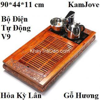 bàn pha trà điện đa năng thông minh tự động gỗ hương chạm khắc kỳ lân đẹp kj523