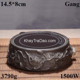 bếp đun ấm tetsubin bằng gang đắp nổi sen loại hồng ngoại bền đẹp bd06