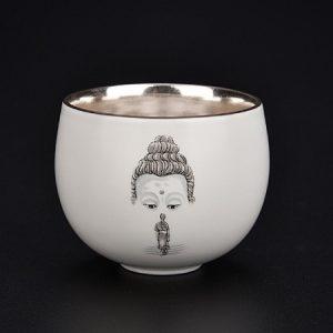 Chén thiên mục bạc hoạ tiết thiền mặt phật dẹp dung tích 80ml có từ tính giữ được hương vị và khí trà