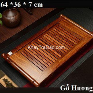 khay trà bằng gỗ hương dáng viền cong 2 bên để ấm chén trà bền đẹp ktg10