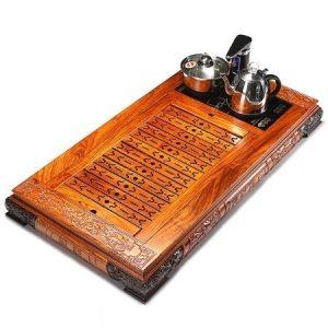 khay trà điện đa năng thông minh tự động xoay vòi bơm nước bằng gỗ hương ta đẹp