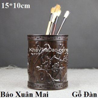 ống đựng bút bằng gỗ đàn chạm khắc báo xuân mai nổi rất đẹp ob01