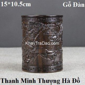 ống đựng bút bằng gỗ đàn hương đen khắc thanh minh thượng hà đồ đẹp