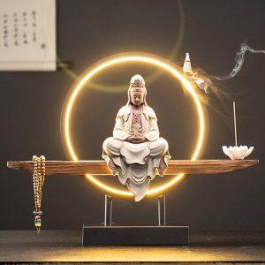 tượng phật quan âm tử sa cao cấp dáng ngồi thiền trên kệ có cả đèn led trang trí bàn trà