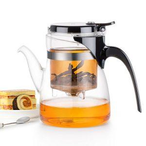 ấm trà thủy tinh dùng để pha trà hoa chính hãng lightking b02 bền đẹp 600ml