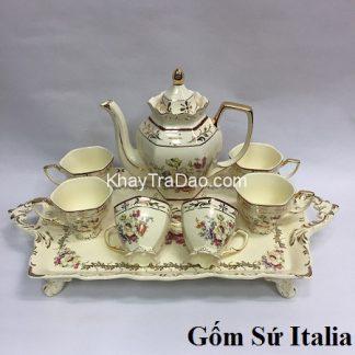 bộ ấm trà cao cấp gốm sứ italia phong cách châu âu có cả khay trà đẹp at80