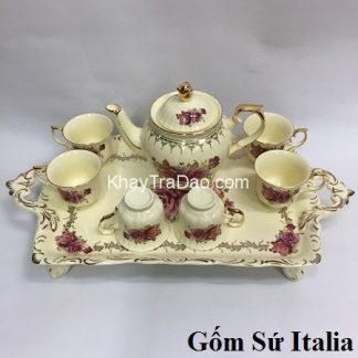 bộ ấm trà châu âu gốm sứ italia phong cách hoàng gia họa tiết hoa hồng đẹp