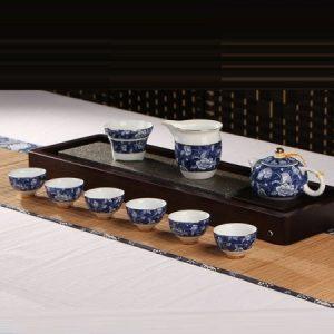 bộ tách trà đẹp họa tiết hoa mẫu đơn gốm cảnh đức cao cấp dáng ấm tây thi at53.
