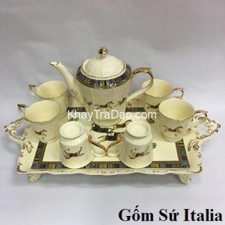 bộ ấm trà phong cách châu âu kiểu hoàng gia gốm sứ italia họa tiết ngựa đẹp