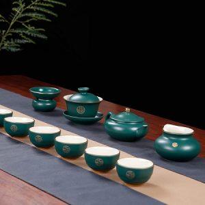 bộ tách trà đẹp gốm giả cổ cao cấp dáng ấm hoa dĩnh pha trà thuận tay at17.