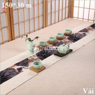chiếu trà vải xước họa tiết hoa dài 150cm dải bàn trà cực đẹp