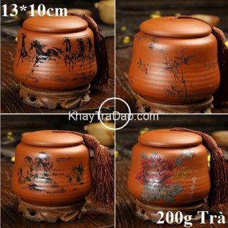 hũ đựng trà gốm tử sa nghi hưng họa tiết thủ công đẹp nắp khít ht04