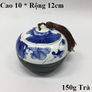 hũ đựng trà sứ họa tiết sen cá nắp khít đẹp chứa được khoảng 150g trà