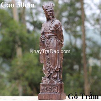 tượng gỗ khổng minh mini dáng đứng cầm quạt bằng gỗ trầm cao 30cm đẹp tg10