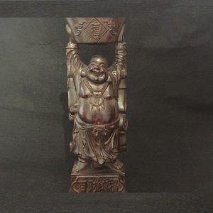 tượng phật di lặc bằng gỗ gió bầu dáng bê vàng bán thủ công đẹp cao 22cm