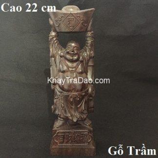 tượng phật di lặc bằng gỗ trầm dáng bê vàng bán thủ công đẹp cao 22cm