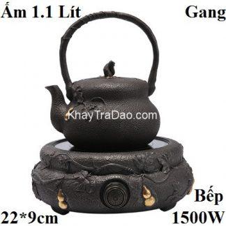 ấm tetsubin kèm bếp đun nước pha trà bằng gang cùng họa tiết hồ lô thủ công đẹp an20