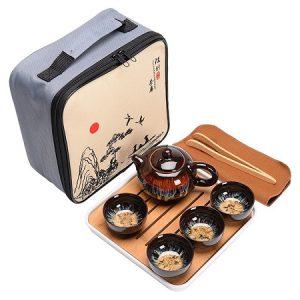bộ ấm tràdu lịch thiên mục cao cấp dáng tây thi kèm 4 chén đẹp có cả khay trà.