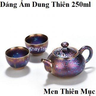 bộ ấm trà thiên mục dáng ấm dung thiên gồm 1 ấm và 2 chén sắc men đẹp at71