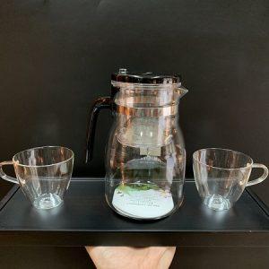 Bộ ấm trà thuỷ tinh cao cấp pha trà hoa kèm 2 ly có quai có quai chính hãng KamJove