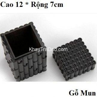 hộp đựng trà bằng gỗ mun nắp kiểu mộng rất khít dáng đốt trúc thủ công cực đẹp ht17