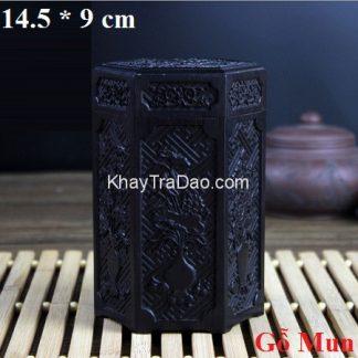 hũ đựng trà bằng gỗ mun nắp khít chạm khắc mai lan cúc trúc dạng lục giác đẹp ht12