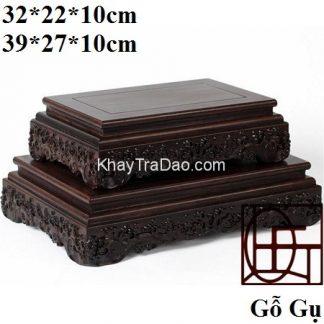 khay gỗ đẹp làm kệ trưng bày đồ hoặc để ấm chén chạm khắc phỏng cổ thủ công đẹp