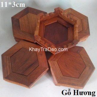 đế ấm trà gỗ hương dáng lục giác nhỏ gọn kê đồ bền đẹp