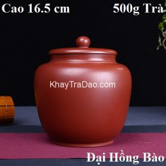 hũ đựng trà tử sa nguyên khoáng đại hồng bào thủ công nắp cực khít loại to 500g trà