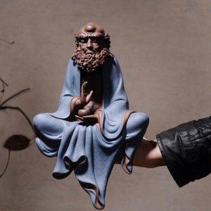tượng đạt ma tử sa dáng ngồi thiền thủ công đẹp bằng gốm tử sa cao cấp ts16