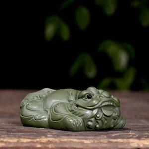 tỳ hưu tử sa nguyên khoáng mặc lục nê thủ công dáng nằm phủ phục làm pet bàn trà