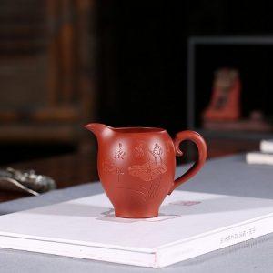 chuyên trà tử sa dùng làm chén tống họa tiết khắc sen khoáng đại hồng bào đẹp 220ml