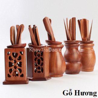 dụng cụ pha trà gồm nhiều trà cụ bằng gỗ hương cho công năng tốt bền đẹp