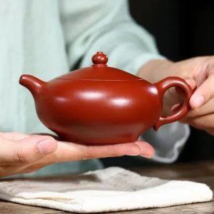 ấm tử sa liên tử thủ công nắp khít dễ tháo trà nguyên khoáng đại hồng bào 300ml pha ngon.