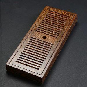 khay trà gỗ cánh gà để ấm chén trà dáng hộp dài hiện đại bền đẹp 43x17cm